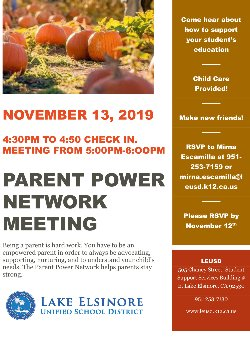 Parent Power Networking meeting November 13, 2019