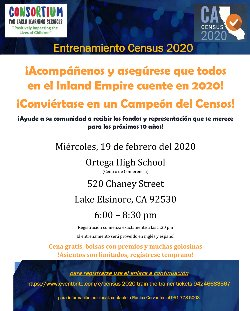 Census 2020 Training will be provided in both English and Spanish Registration begins promptly at 5:30 p.m.